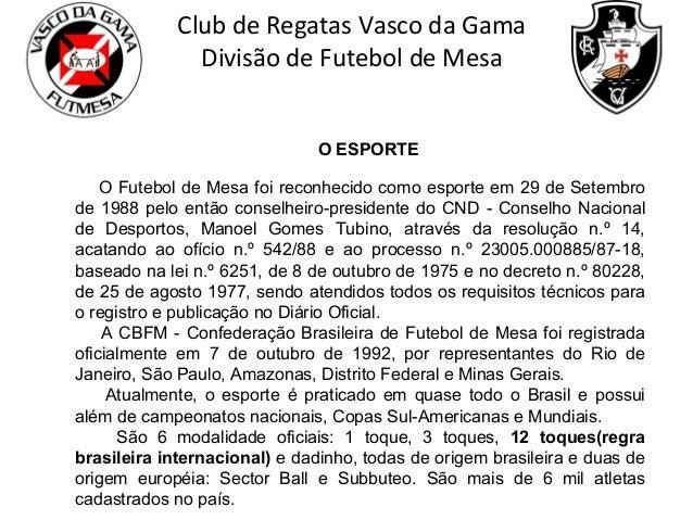 Club de Regatas Vasco da Gama Divisão de Futebol de Mesa O ESPORTE O Futebol de Mesa foi reconhecido como esporte em 29 de...