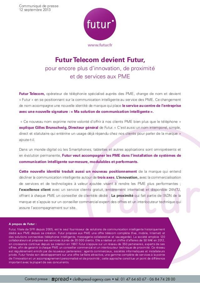 FuturTelecom devient Futur, pour encore plus d'innovation, de proximité et de services aux PME Futur Telecom, opérateur de...