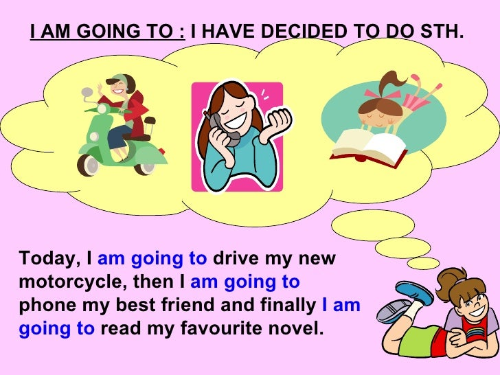 I AM GOING TO :  I HAVE DECIDED TO DO STH. Today, I  am going to  drive my new motorcycle, then I  am going to  phone my b...