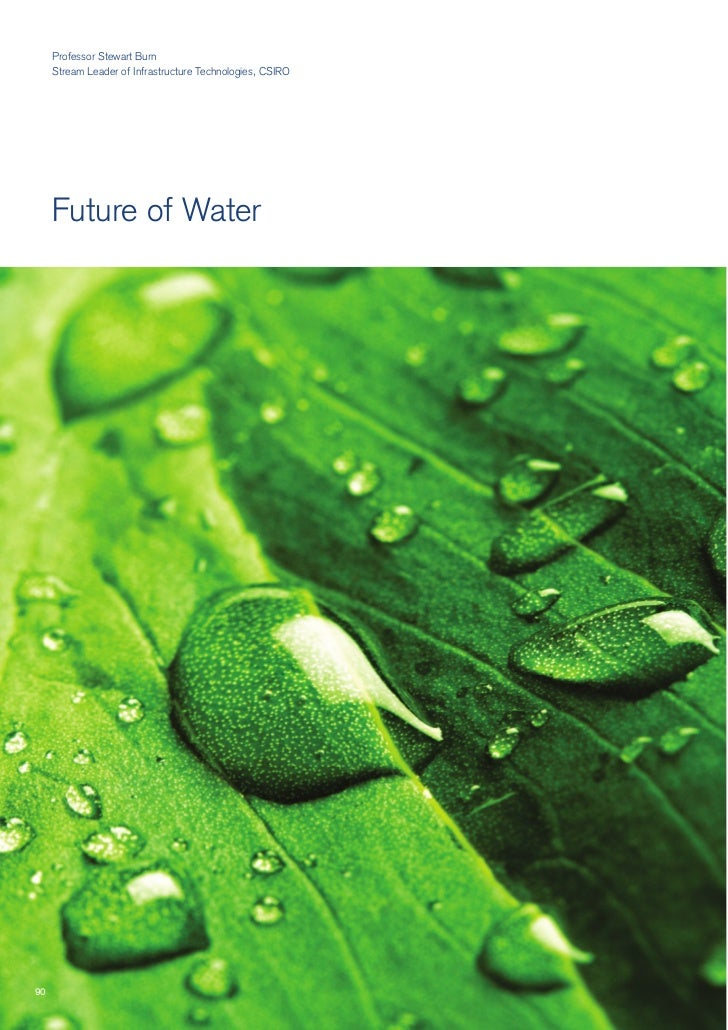 Professor Stewart Burn      Stream Leader of Infrastructure Technologies, CSIRO          Future of Water     90
