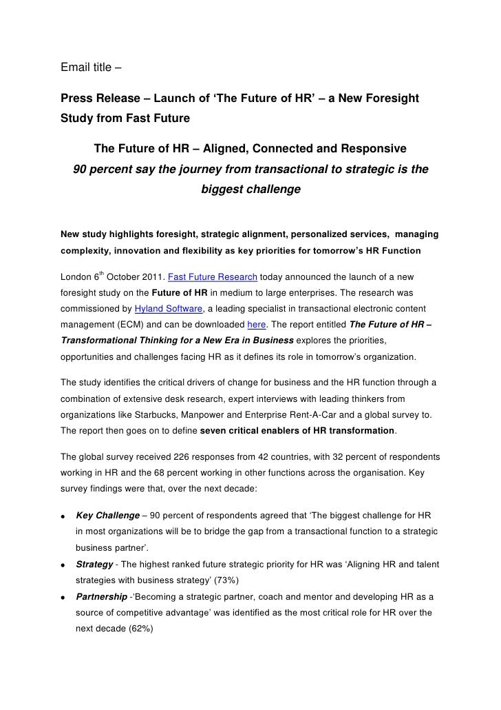 Email title – <br />Press Release – Launch of 'The Future of HR' – a New Foresight Study from Fast Future<br />The Future ...