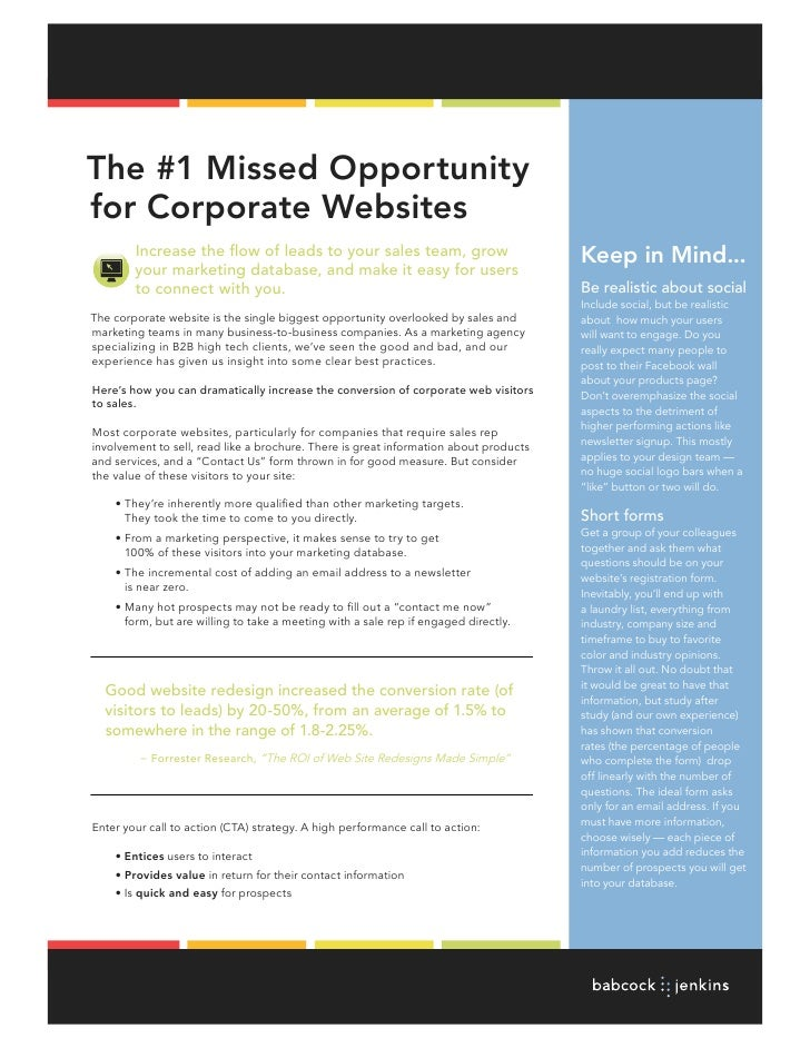 The #1 Missed Opportunityfor Corporate Websites        Increase the flow of leads to your sales team, grow                ...