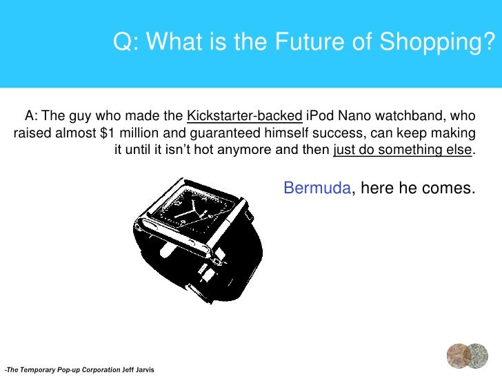 Q: What is the Future of Shopping?    A: The guy who made the Kickstarter-backed iPod Nano watchband, who  raised almost $...