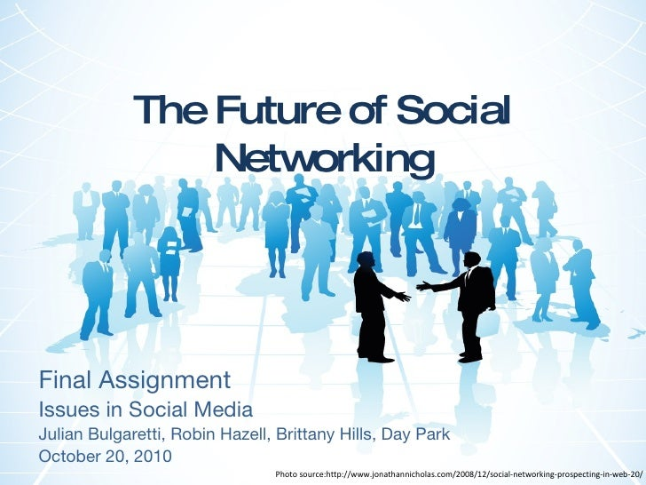 The Future of Social Networking Final Assignment Issues in Social Media Julian Bulgaretti, Robin Hazell, Brittany Hills, D...