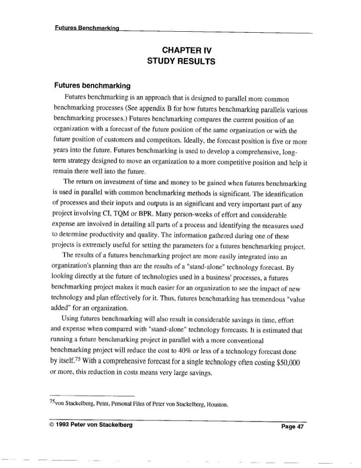 Futures Benchmarking & Technology Forecasting - Masters Thesis (Part 3)