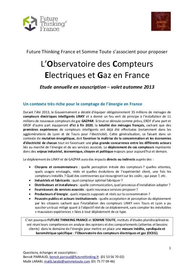 Future thinking observatoire des compteurs electriques et gaz en france vague 2013