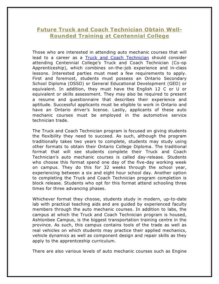 Future Truck and Coach Technician Obtain Well-      Rounded Training at Centennial CollegeThose who are interested in atte...