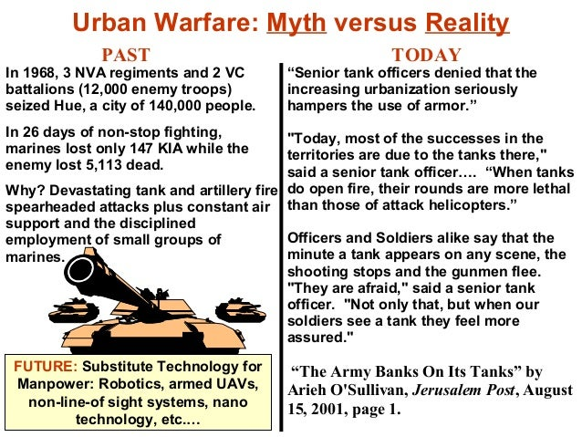Urban Warfare: Myth versus Reality              PAST                                      TODAYIn 1968, 3 NVA regiments an...