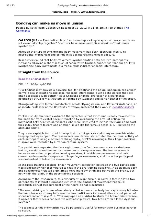 13. 1. 25.                                              Futurity.org » Bonding can make us move in unison » Print         ...