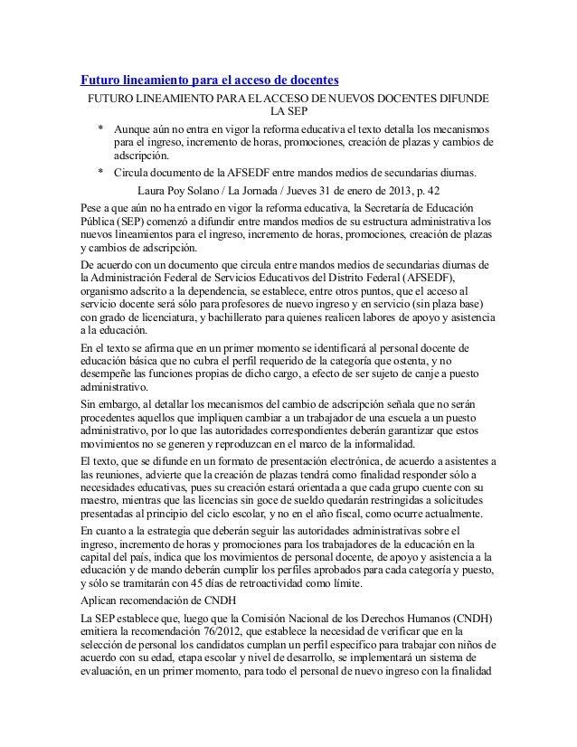 Futuro lineamiento para el acceso de docentes FUTURO LINEAMIENTO PARA EL ACCESO DE NUEVOS DOCENTES DIFUNDE                ...