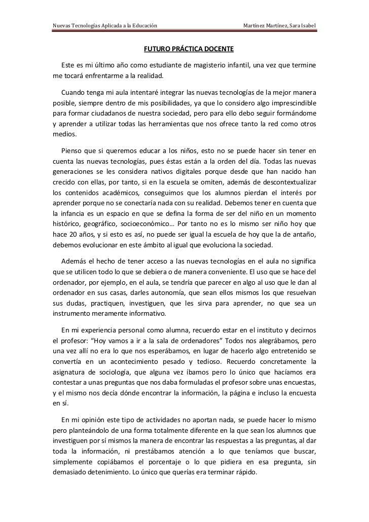 Nuevas Tecnologías Aplicada a la Educación                    Martínez Martínez, Sara Isabel                              ...