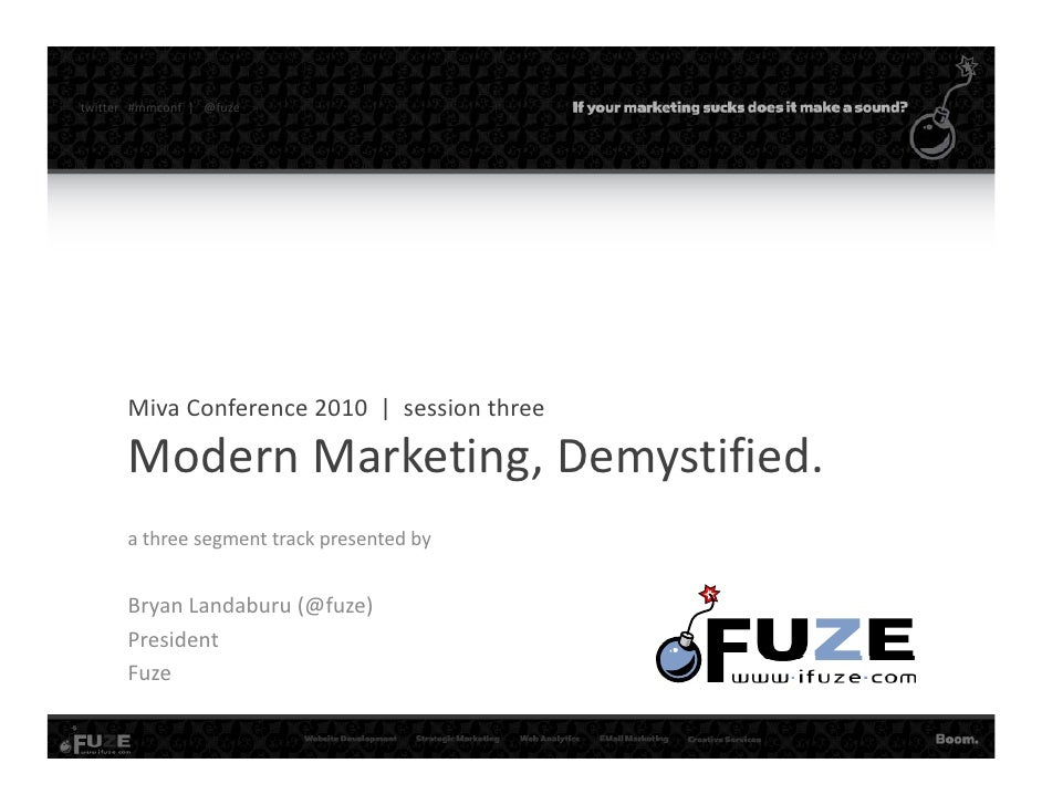 twitter   #mmconf |   @fuze             Miva Conference 2010  |  session three          Modern Marketing, Demystified.    ...