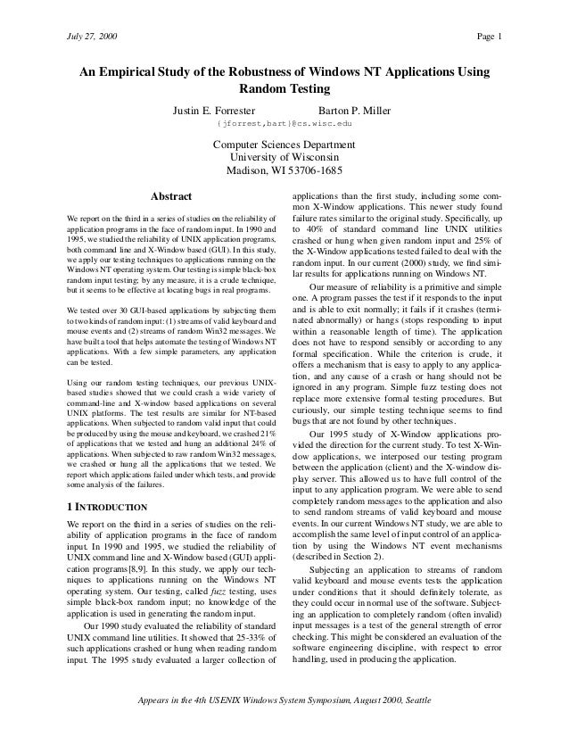 July 27, 2000 Page 1 Appears in the 4th USENIX Windows System Symposium, August 2000, Seattle An Empirical Study of the Ro...