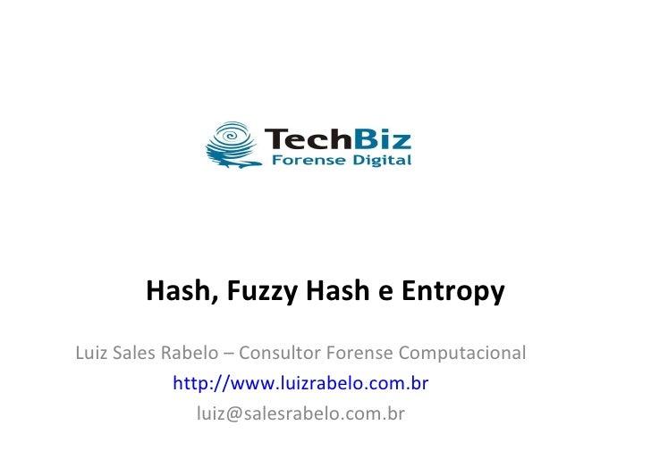 Hash, Fuzzy Hash e Entropy Luiz Sales Rabelo – Consultor Forense Computacional http://www.luizrabelo.com.br [email_address]