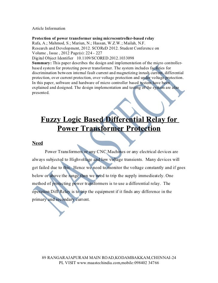 FUZZYLOGIC PROJECTS-Fuzzy logic based differential relay for power transformer protection ieee