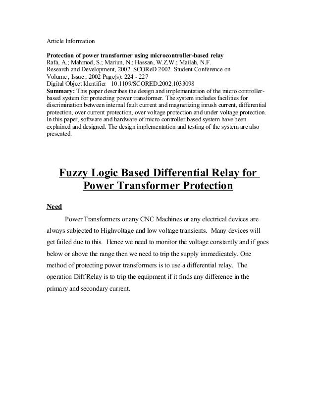 Article InformationProtection of power transformer using microcontroller-based relayRafa, A.; Mahmod, S.; Mariun, N.; Hass...