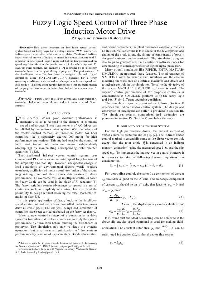 Fuzzy logic speed control of three phase