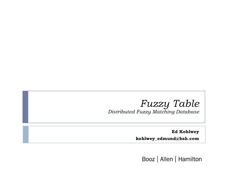 Fuzzy Table - B.A.H