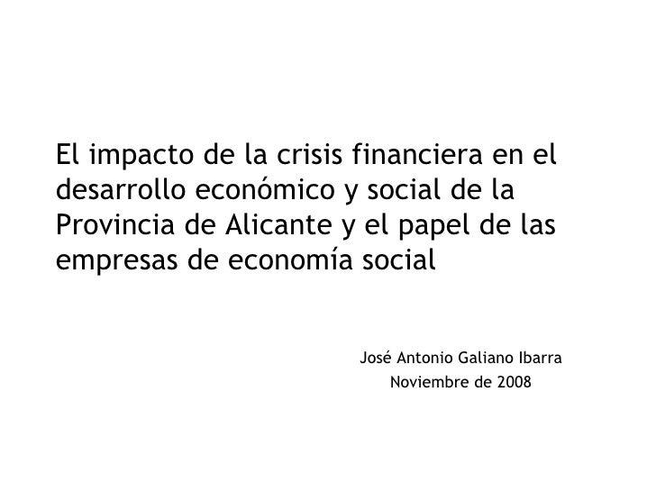 Una aproximación a la crisis económica en la Provincia de Alicante