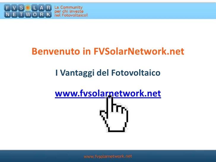 Fv Solar Network  - Vantaggi del fotovoltaico