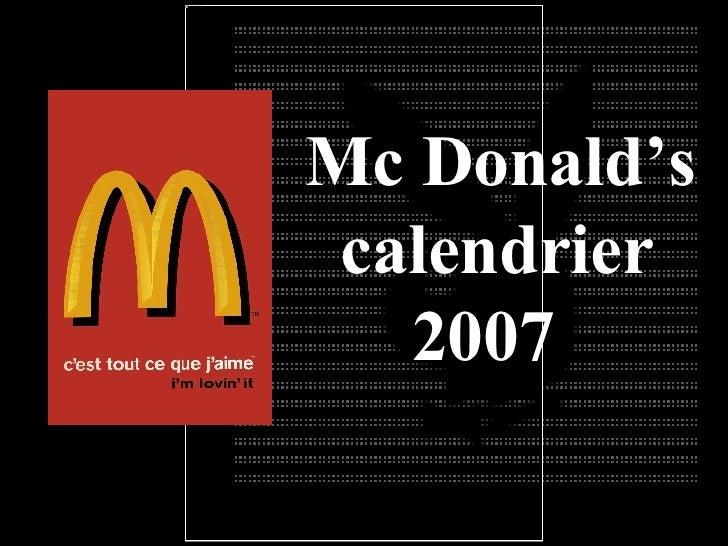 Calendário Mc Donalds 2007