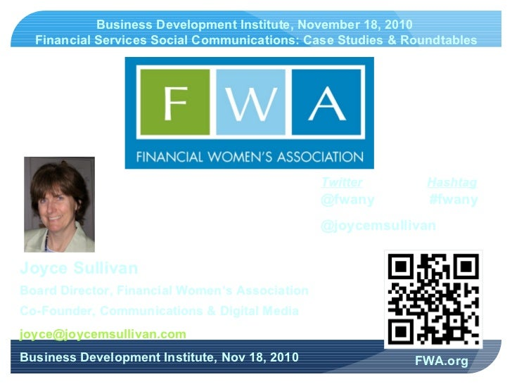 FWA Joyce Sullivan 11.18.2010 BDI Event V2