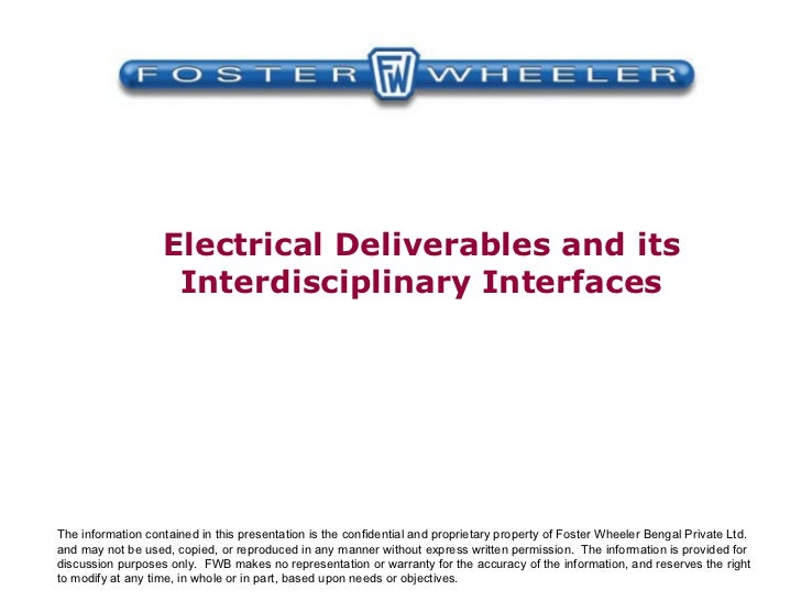 Electrical Deliverables - Interdisciplinary Interfaces