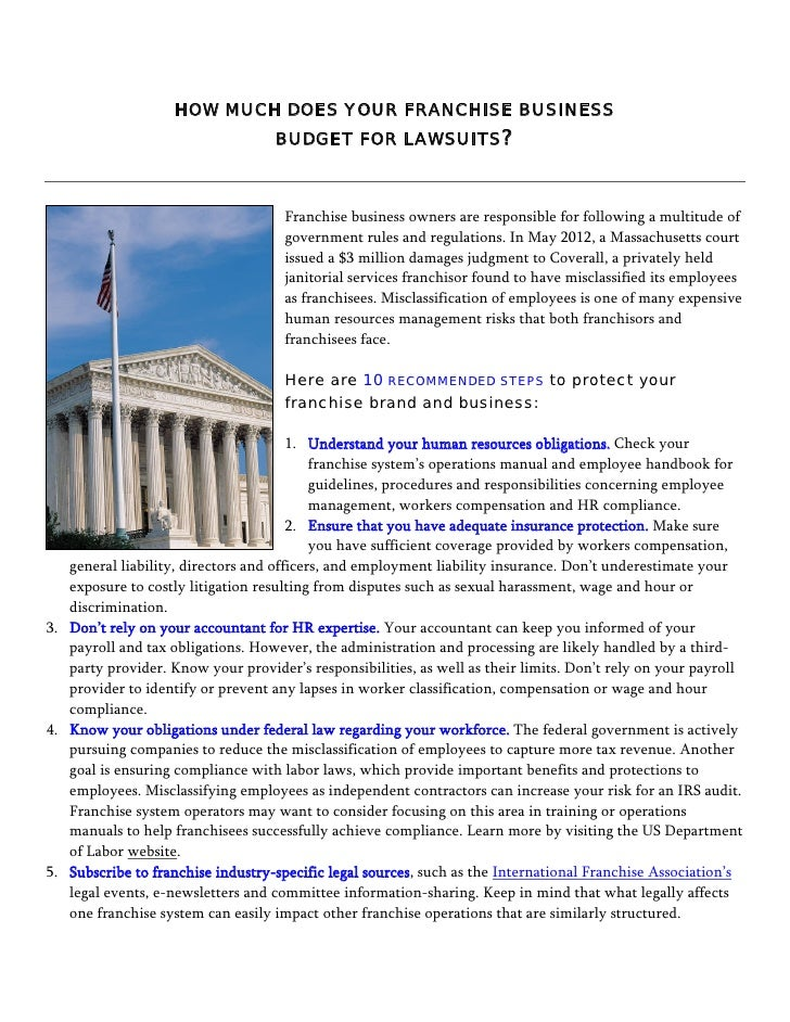 Budgeting for Franchise Lawsuits - 10 steps