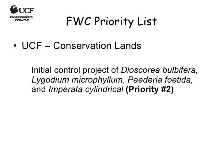 FWC Priority List <ul><li>UCF – Conservation Lands  </li></ul><ul><ul><li>Initial control project of  Dioscorea bulbifera,...