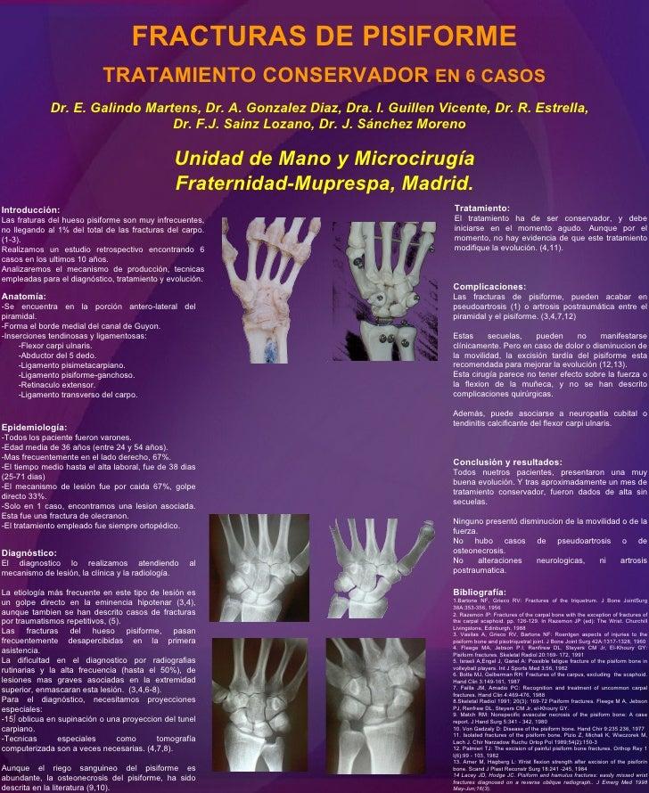 FRACTURAS DE PISIFORME TRATAMIENTO CONSERVADOR  EN 6 CASOS Dr. E. Galindo Martens, Dr. A. Gonzalez Diaz, Dra. I. Guillen V...