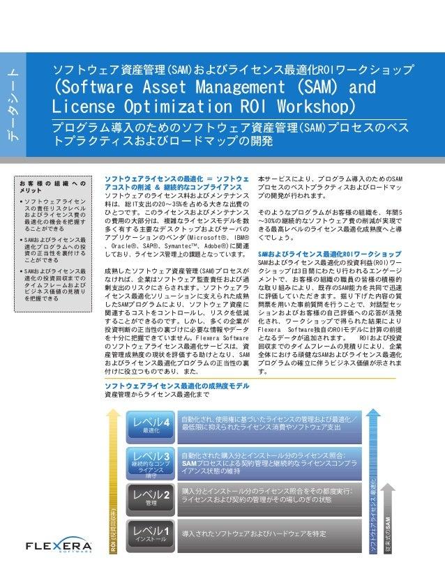 データシート ソフトウェア資産管理(SAM)およびライセンス最適化ROIワークショップ (Software Asset Management (SAM) and License Optimization ROI Workshop) プログラム導...