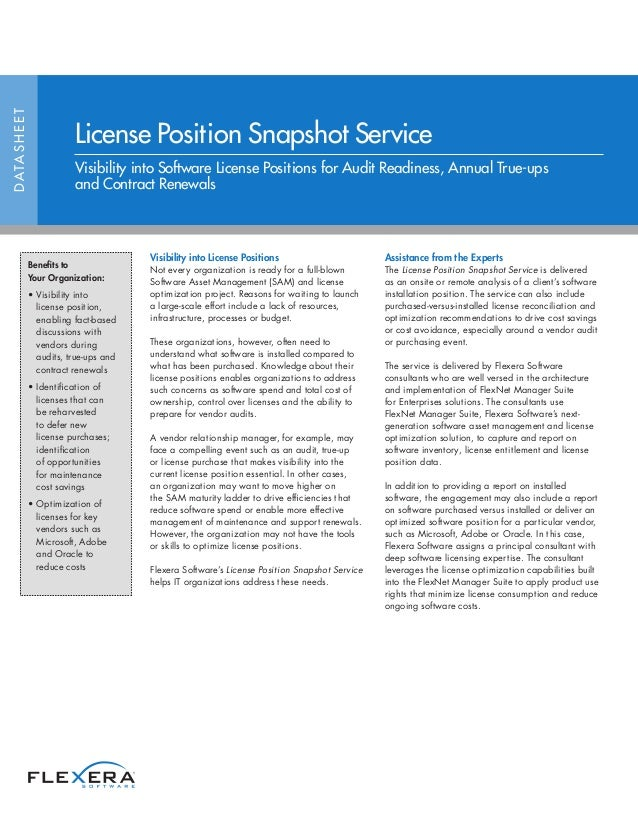 Visibility into License Positions Not every organization is ready for a full-blown Software Asset Management (SAM) and lic...