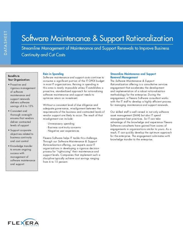 Software Maintenance & Support Rationalization