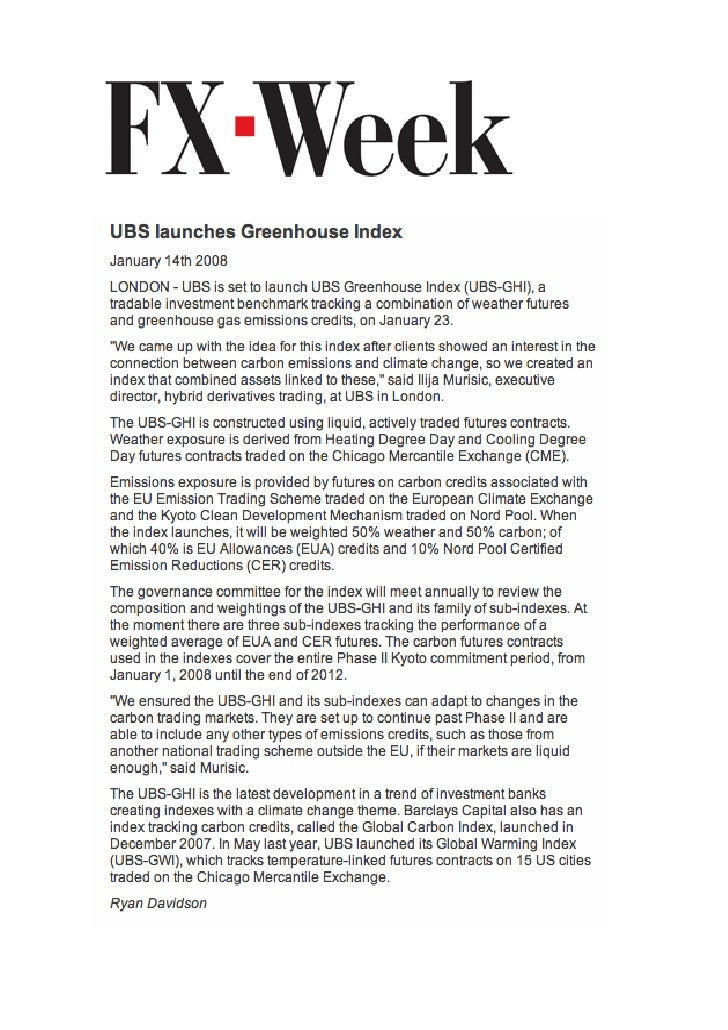 FX Week Jan 08 - Carbon Emission - UBS Greenhouse Index - Murisic