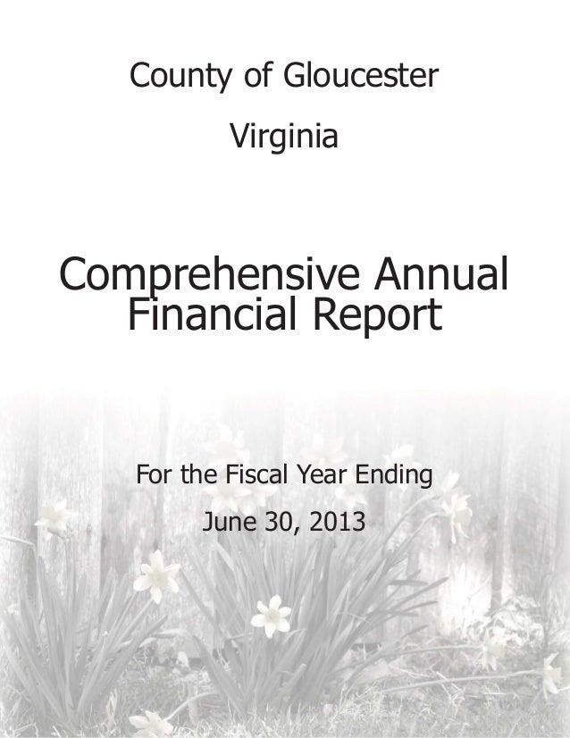 Gloucester, VA, Fy 2013 comprehensive annual financial report
