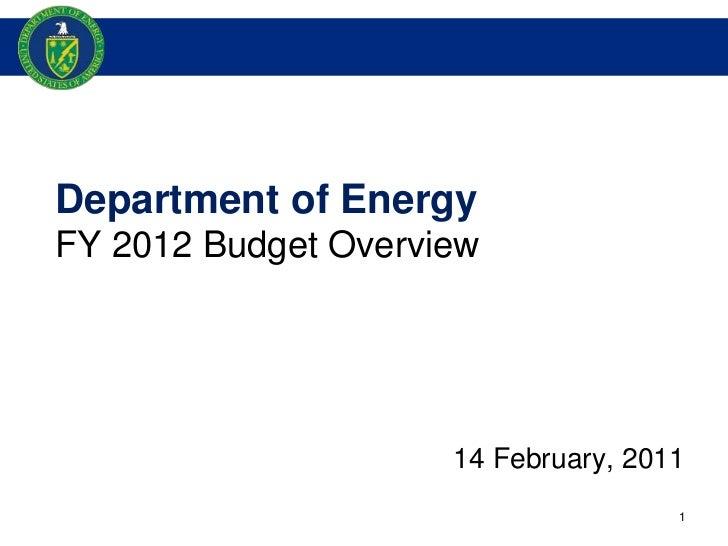 Secretary Chu's FY 2012 Budget Briefing