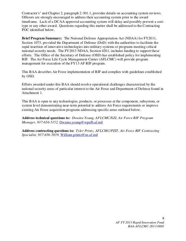 Fy2013 Usaf Rapid Innovation Fund Baa Announcement