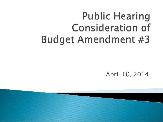 FY14 Budget Amendment No.3