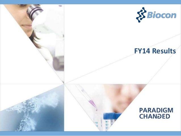 Biocon FY2014 Results