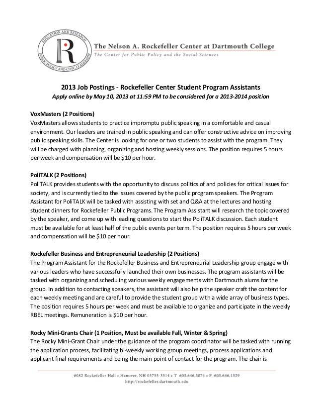 2013-2014 Rockefeller Center Co-Curricular Job Postings