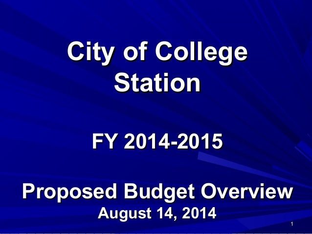 FY15 Proposed Budget Overview