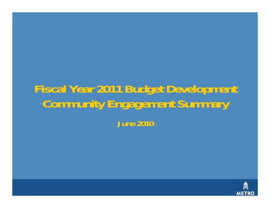 Capital Metro FY2011 Budget: Community Engagement and Survey Results