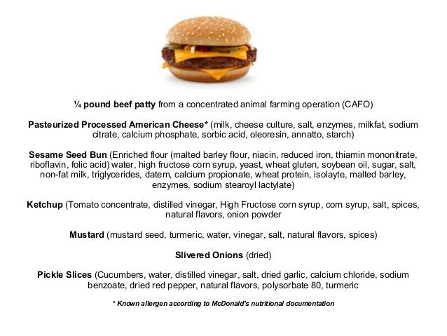 ¼ pound beef patty from a concentrated animal farming operation (CAFO) Pasteurized Processed American Cheese* (milk, chees...