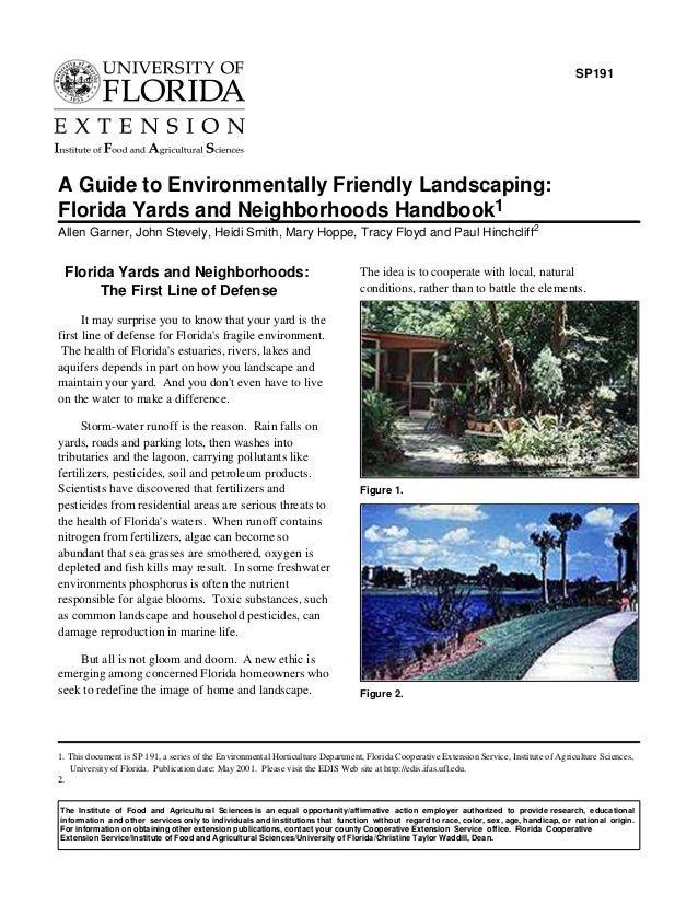SP191A Guide to Environmentally Friendly Landscaping:Florida Yards and Neighborhoods Handbook1Allen Garner, John Stevely, ...