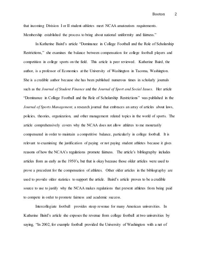 Research paper on not paying college athletes