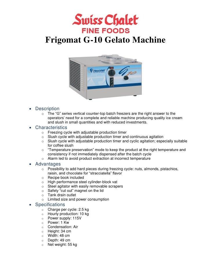 G 10 gelato machine