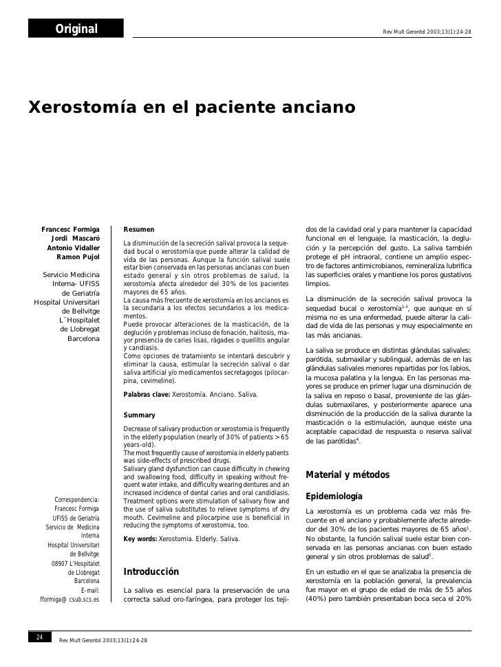 Xerostomía en el paciente anciano