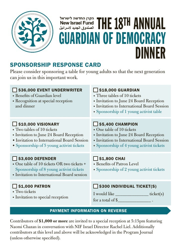 New Israel Fund (NIF) Guardian of Democracy Invitation Reply Card A6 2012