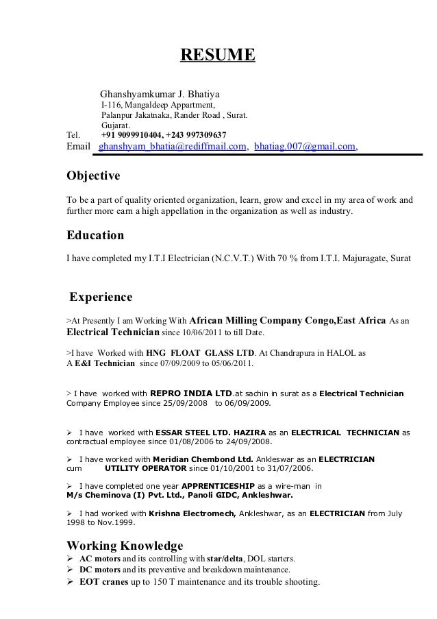 Examples Of Electrician Resumes - Template