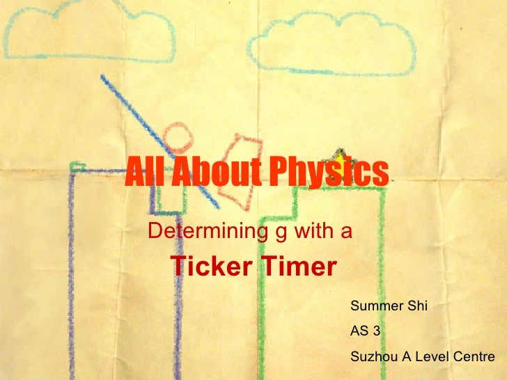 All About Physics Determining g with a  Ticker Timer Summer Shi AS 3 Suzhou A Level Centre